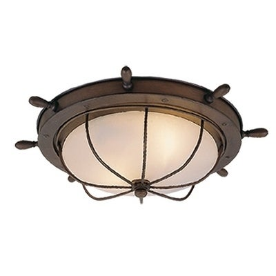 Orleans Copper Coastal Ship Wheel Outdoor Flush Mount Ceiling Light White Glass 15 In W X 5 In H X 15 In D Overstock 20906854