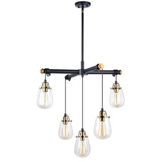 Vaxcel Kassidy 5L Chandelier Black and Natural Brass