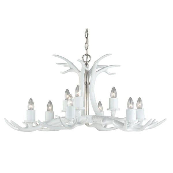 Vaxcel Vail 9L Antler Chandelier White w/ Polished Nickel