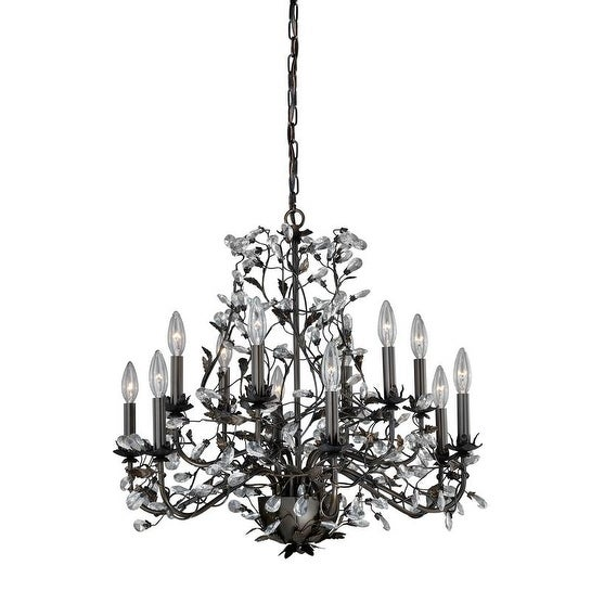 Vaxcel Trellis 12L Chandelier Architectural Bronze with Gold Accents