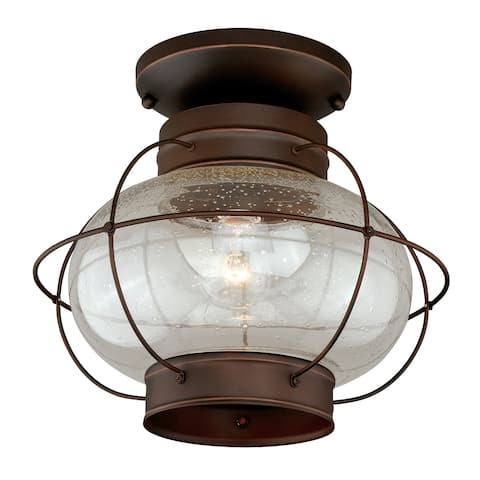 Chatham Bronze Coastal Globe Outdoor Flush Mount Ceiling Light Clear Glass - 13-in W x 12-in H x 13-in D