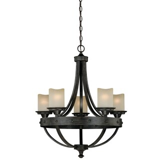 Vaxcel Halifax 5L Chandelier Black Walnut