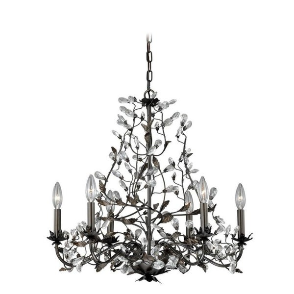 Vaxcel Trellis 6L Chandelier Architectural Bronze with Gold Accents