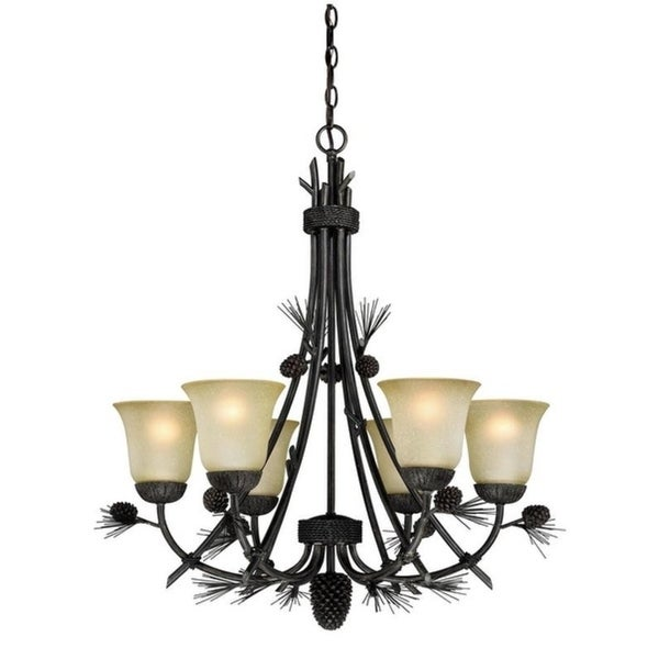 Vaxcel Sierra 6L Chandelier Black Walnut