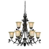 Vaxcel Sierra 9L Chandelier Black Walnut