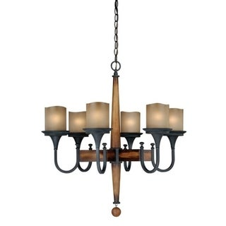 Meritage 6L Chandelier Charred Wood and Black Iron
