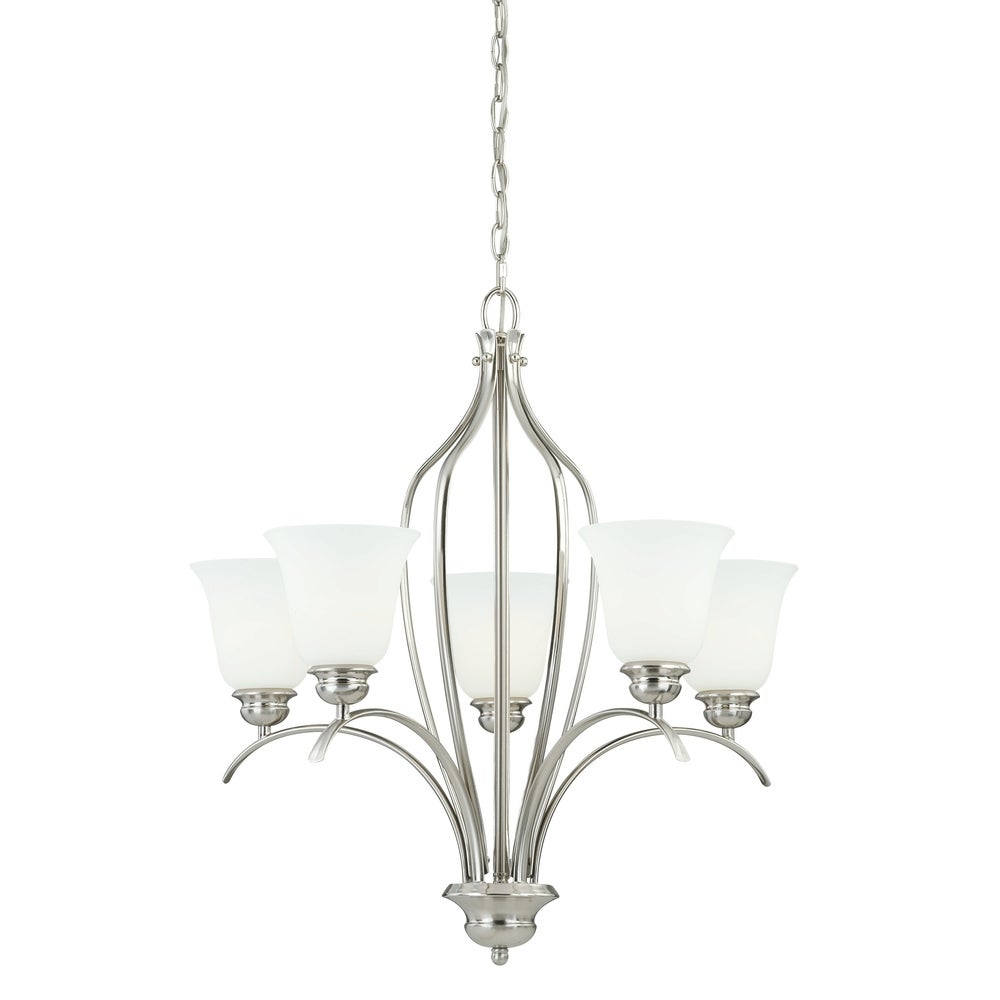 Hewitt Steel 6 light White Shade Chandelier