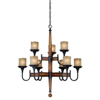 Meritage Charred Wood, Black Iron, and Antique Cream Glass 9-light Chandelier