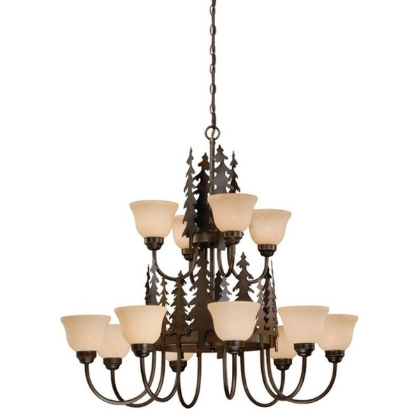 Vaxcel Yosemite 12L Chandelier Burnished Bronze