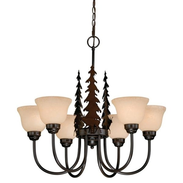 Vaxcel Bryce 6L Chandelier Burnished Bronze