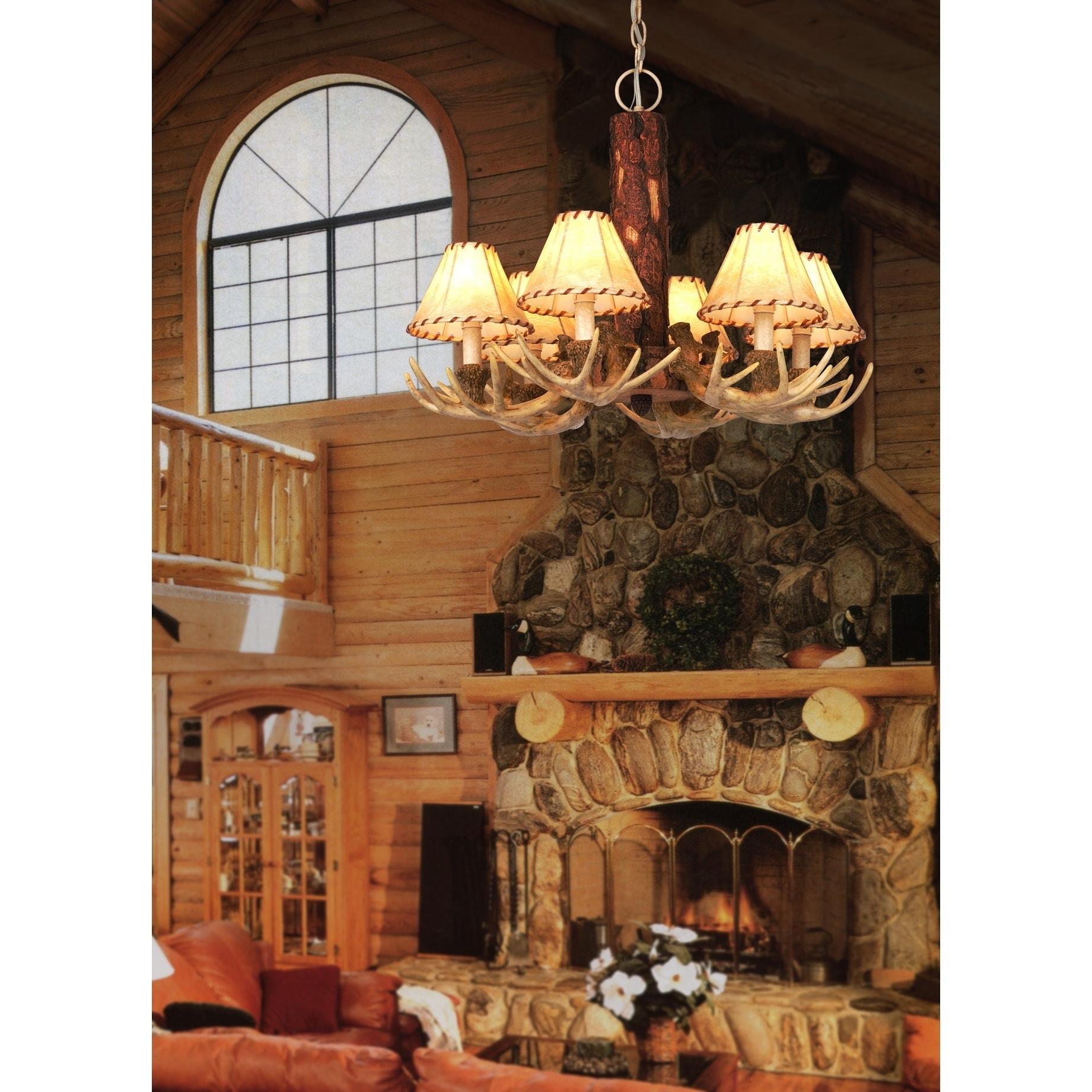 Lodge 6 Light Cream Rustic Antler