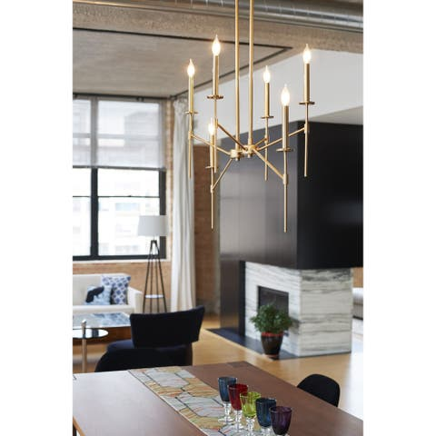 Kedzie 6L Brass Mid-Century Modern Linear Chandelier Island Pendant Light Fixture - 38-in W x 31.75-in H x 38-in D