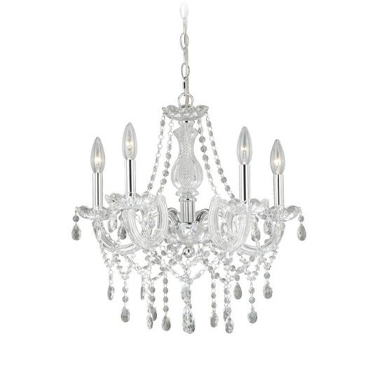 Vaxcel Audrey 5L Mini Chandelier Clear Glass Crystal with Clear Acrylic Arms and Chrome