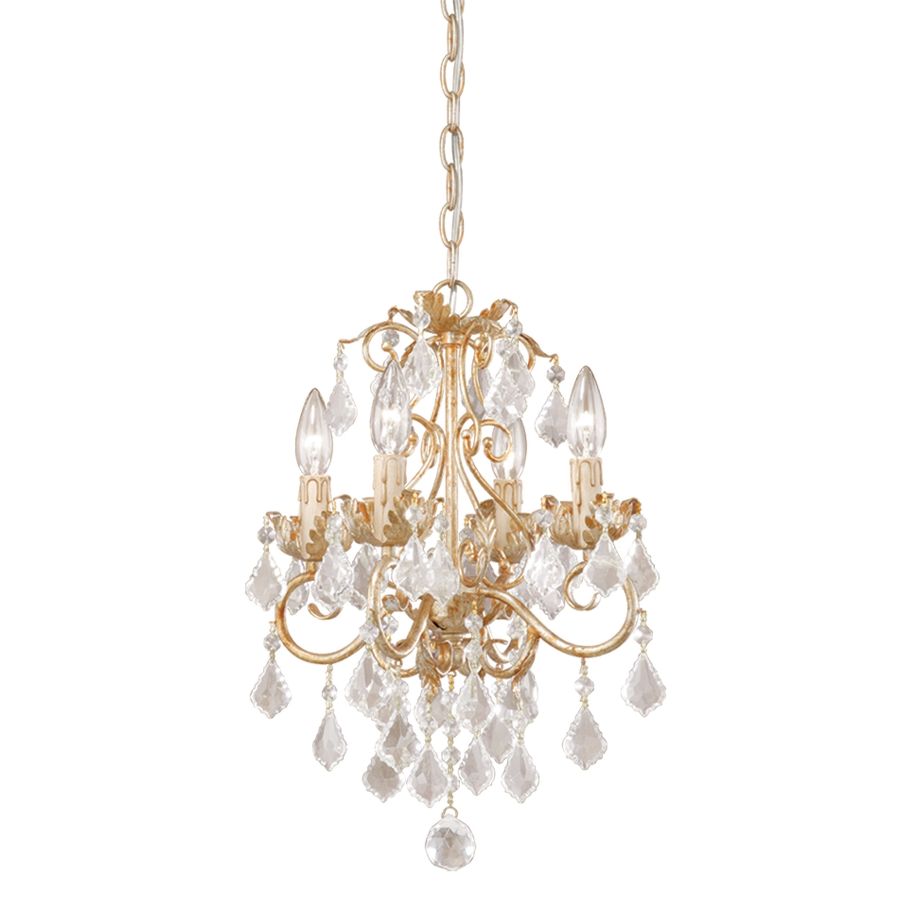 Newcastle 4 Light Crystal White Gold Vintage Candle Mini Chandelier 13 In W X 18 5 In H X 13 In D Overstock 20907023