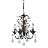 Vaxcel Rovinia 4L Mini Chandelier Aged Walnut w/Crystal Drops