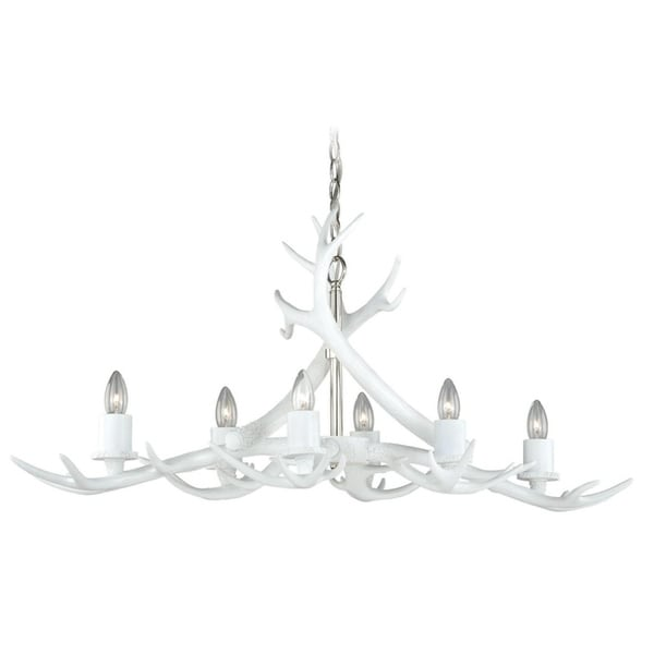 Vaxcel Vail 6L Antler Island White w/Polished Nickel