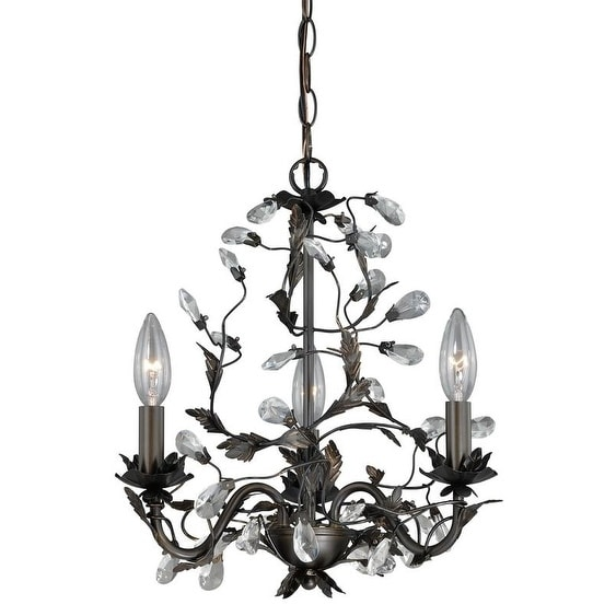 Vaxcel Trellis 3L Mini Chandelier Architectural Bronze with Gold Accents