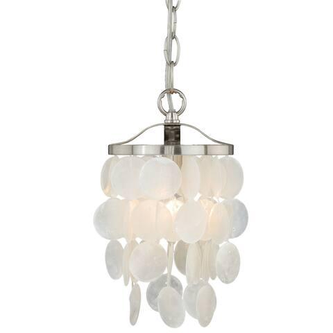 Elsa Satin Nickel Coastal Capiz Shell Mini Pendant Ceiling Light - 6-in W x 13-in H x 6-in D