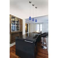 "Milano 4-1/2"" Mini Pendant Satin Nickel w/Azzurra Glass"