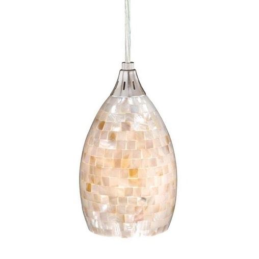 "Milano 4-1/2"" Mini Pendant Satin Nickel w/Mosaic Shell Glass"