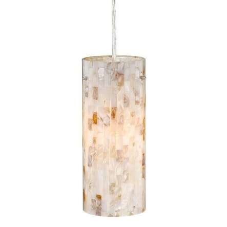 "Milano 4"" Mini Pendant Satin Nickel w/Mosaic Shell Glass"