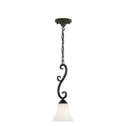 Belleville Bronze Mini Pendant Ceiling Light White Glass - 6.25-in W x 17-in H x 6.25-in D