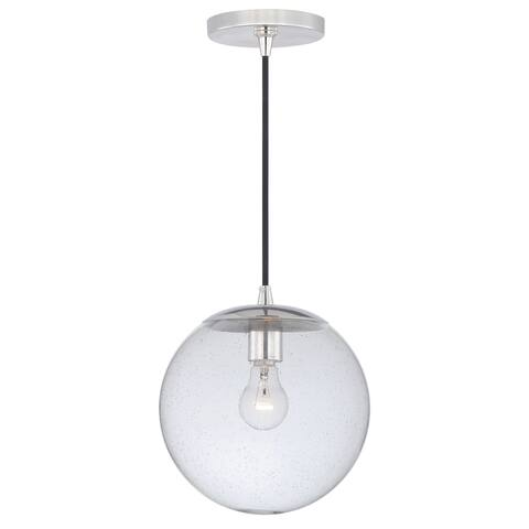 Polished Nickel Mid-Century Modern Globe Mini Pendant Ceiling Light Clear Glass - 10.75-in W x 10-in H x 10.75-in D