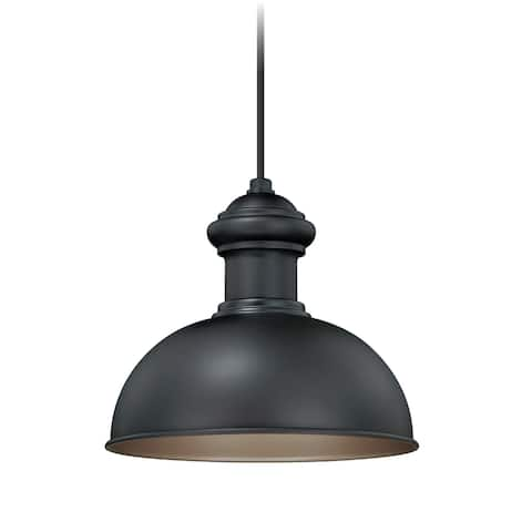 Franklin 1 Light Farmhouse Outdoor Barn Dome Pendant - 10-in. W x 9.25-in. H x 10-in. D
