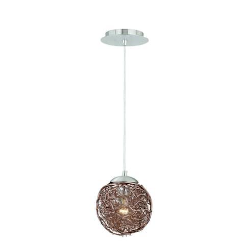 Milano Satin Nickel Globe Mini Pendant Ceiling Light Mocha Wire - 7-in W x 7-in H x 7-in D