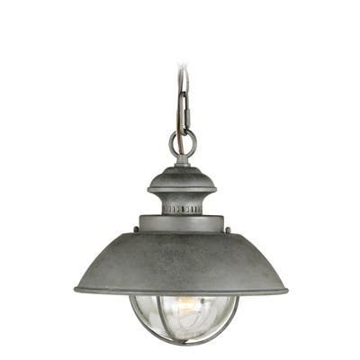 Harwich 1 Light Gray Coastal Outdoor Barn Dome Pendant Clear Glass - 10-in W x 10.75-in H x 10-in D
