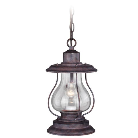 Dockside 1 Light Bronze Coastal Outdoor Lantern Pendant Clear Glass - 8-in W x 14.75-in H x 8-in D