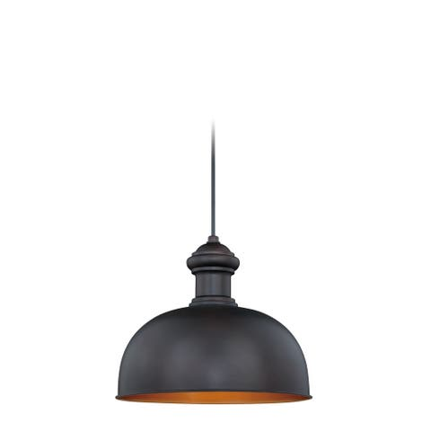 Franklin 1 Light Farmhouse Outdoor Barn Dome Pendant - 13-in. W x 11.5-in. H x 13-in. D