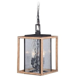 "Modoc 9"" Outdoor Pendant Textured Dark Bronze/Distressed Oak"