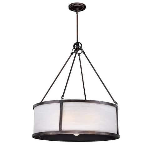 Lumos 7 Light Bronze Drum Pendant White Glass - 25-in W x 30-in H x 25-in D