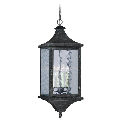 Cavanaugh 4 Light Bronze Outdoor Lantern Pendant Clear Glass - 12-in W x 33.75-in H x 12-in D