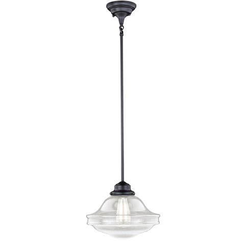 Vaxcel Huntley Bronze Farmhouse Clear Glass Schoolhouse Pendant Light - 12-in W x 14.75-in H x 12-in D