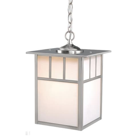 Mission 1 Light Stainless Steel Mission Outdoor Lantern Pendant White Glass - 9-in W x 13-in H x 9-in D