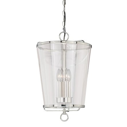 """Vaxcel 630 Series 13-1/2"""" Pendant Polished Nickel w/Clear Glass"""