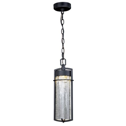 Logan 1 Light LED Outdoor Cylinder Pendant Clear Glass - 5.5-in. W x 16.75-in. H x 4-in. D
