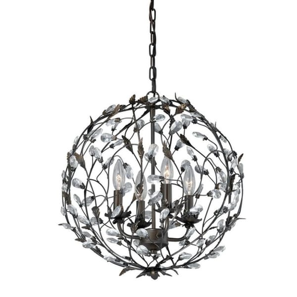 Vaxcel Trellis 4L Pendant Architectural Bronze with Gold Accents