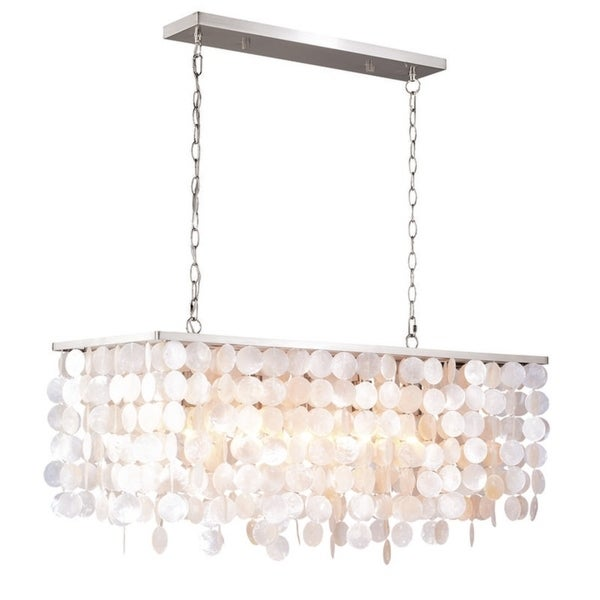 "Vaxcel Elsa Capiz Shell 36"" Rectangular Pendant Satin Nickel"
