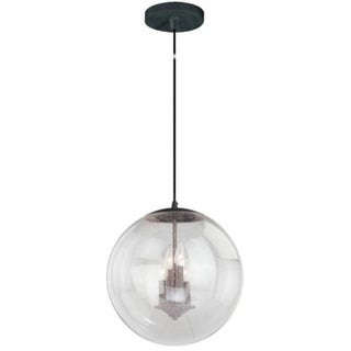 "Vaxcel 630 Series 15-3/4"" Pendant Black Iron Clear Seeded Glass"