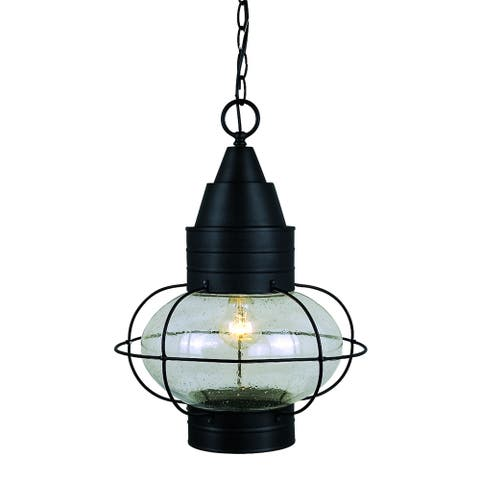 Chatham 1 Light Black Coastal Outdoor Globe Lantern Pendant Clear Glass - 13-in W x 17.5-in H x 13-in D