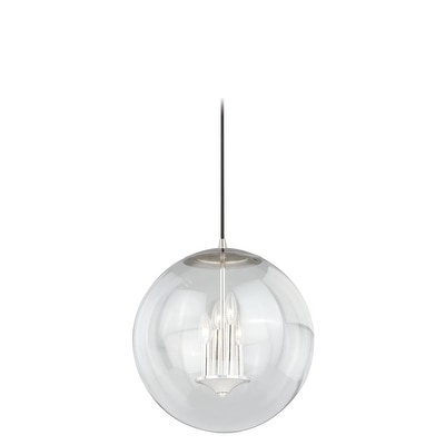 """Vaxcel 630 Series 15-3/4"""" Pendant Polished Nickel w/Clear Glass"""