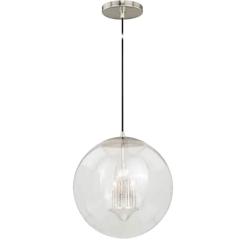 4 Light Polished Nickel Mid-Century Modern Globe Pendant Clear Glass - 15.75-in W x 16.75-in H x 15.75-in D