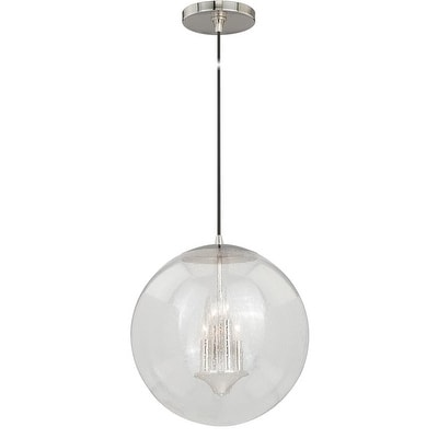 """Vaxcel 630 Series 15-3/4"""" Pendant Polished Nickel Clear Seeded Glass"""