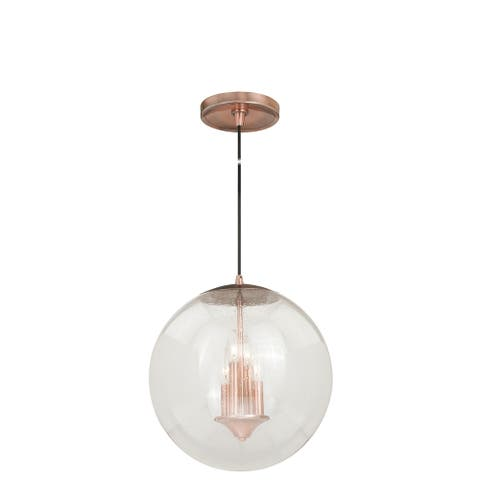 4 Light Copper Mid-Century Modern Globe Pendant Clear Glass - 15.75-in W x 16.75-in H x 15.75-in D