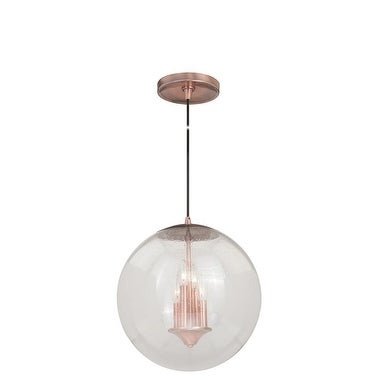 "Vaxcel 630 Series 15-3/4"" Pendant Copper Clear Seeded Glass"