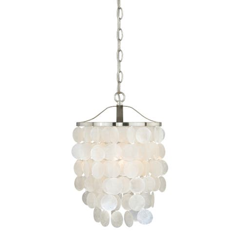 Elsa Satin Nickel Coastal Capiz Shell Pendant Ceiling Light - 10.5-in W x 18-in H x 10.5-in D