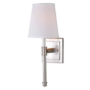 Ritz 6-in W Nickel Modern Wall Sconce with White Fabric Shade - 6-in W x 16-in H x 6.75-in D